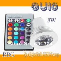 20sets/lot 3W RGB LED Bulbs GU10 85~265V RGB Spotlight bulb +24Key IR Remote Control HK post free shipping