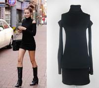 Hot & Sexy New women sexy long sleeve turtleneck hollow shoulder slim  dress Free shipping