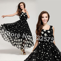 2015 Women Summer Fashion Elegant Slim Brief Black White Polka Dot Sleeveless O-neck Plus Size Tank Maxi Dress Beach Wear SDL060