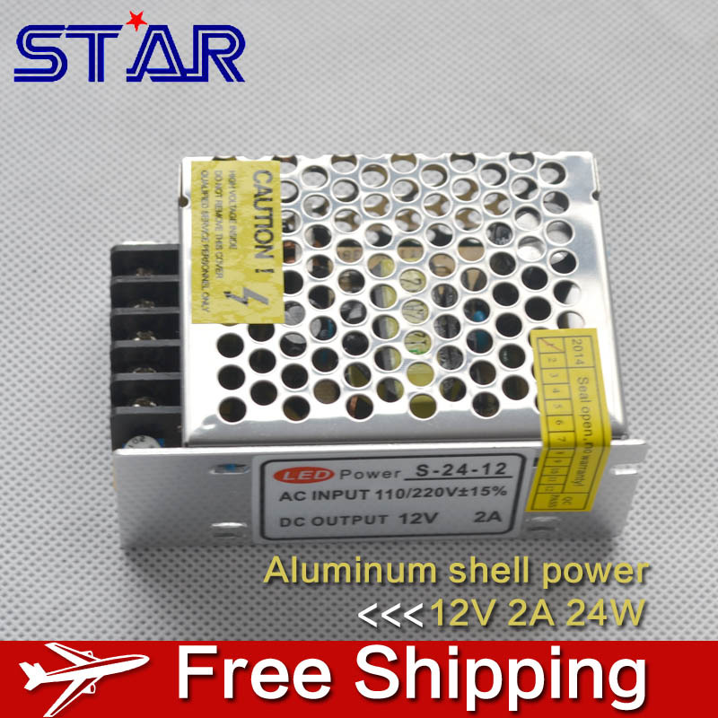 12V 2A 24W Switching Power Supply LED Strip Light Transformer Adapter Aluminum for Ledstrip Lighting non waterproof(China (Mainland))