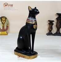 Resin craft Africa Egyptian god cat  typical luxurious decorative sculpture 38cm high the biggest resin  cat home guard 2 colors