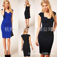 free shipping hot selling new spring 2014 women casual dress, vintage Slim short-sleeved  career elegance women dress