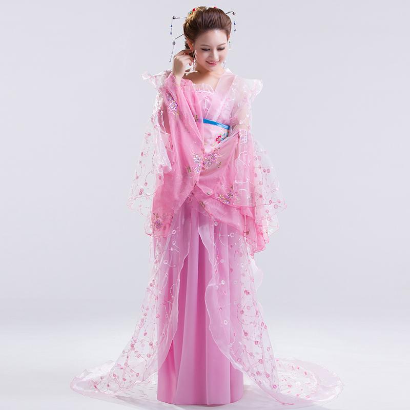 Hanfu Chinese Costume Beyonce Chinese Folk Dance Costumes Hanbok Women Ancient Chinese Costume Hanfu Wear Pink Dress Trailing(China (Mainland))