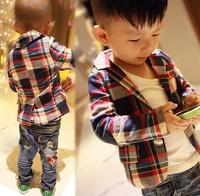 2014 Spring Autumn New Style Boys Jacket, Boys fashion casual plaid suit jacket, Children's Fashion plaid casual V-Neck suit