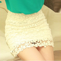 2014 Spring and Summer OL Sexy Slim Hip Lace Hook Flowers Skirts High Waist Short Skirts Female Pencil Skirt