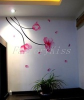 Free Shipping Peach Flowers Tree Removable Wall Stickers Mural Art Decal DIY Home Decoration 4003-042