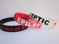 NEW EPILEPTIC Medical Alert Silicone ID Bracelet - Epilepsy Band Wristband,3 colours,promotion gift,100pcs/lot,free shipping