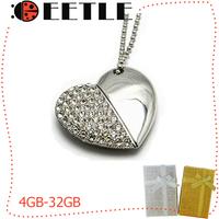 2014 Metal Love Usb Flash Drive 4gb 8gb 16gb 32gb Usb Flash Memory U Disk Crystal Pendrive Flash Card Necklace Usb Flash 2.0