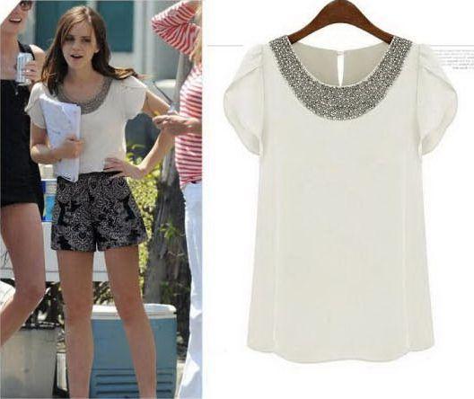 New 2014 Summer Casual Women Chiffon Beading Blouses Short Puff Sleeve Loose Shirts, White, Pink, 7 Size S-4XL(China (Mainland))