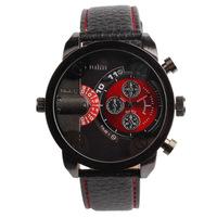 New Arrival Hot Oulm Men's Two Dials Analog Quartz 2 Movements Big Round Case Strip Wrist Watch #L05559
