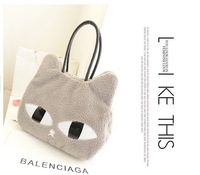 Free shipping Cute Fashion Women Girls Cat Head Style Plush Shoulder Bag Handbag Three Colors