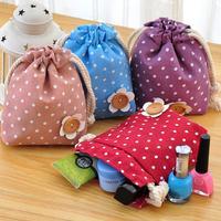 Japanese style fluid polka dot choula tote travel organize bags small sundries storage bag