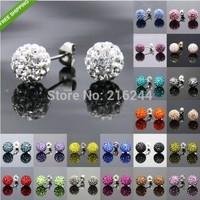 (3pairs/lot) 2014 Fashion Jewelry Rhinestone Crystal  8MM fashion Shamballa Beads  Shambhala  stud earrings mix colorful A0386