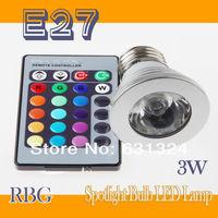 E27 LED RGB Spotlight +IR Remote Control 3W 85-265V 16Colors Changing LED Lamp LED Bulb 20Set/lot