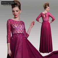 DORISQUEEN Free shipping fashion bead Ready to Wear floor length New Arrival A-line Lace Wine Red Long Sleeve Evening Dress 2014