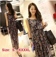 2014 Free Shipping New Arrival High Quality  Girls' Bohemia Printing Chiffon Maxi Dress Summer Casual DressST-CD001 S-XXXXL