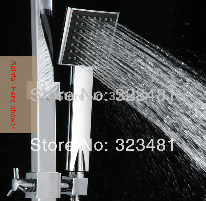 High Quality ABS Rainfall Hand Shower Chrome Plated Square SPA Shower Head Free Shipping(China (Mainland))