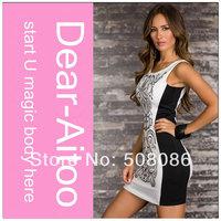 6pcs/Lot 2014 New Women O-Neck White Black Patchwork Casual Print Slip Dress Free Shipping 4136