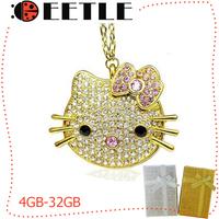 2014 New Arrivel Hello Kitty Crystal Usb Drive Metal Usb Flash Jewelry Necklace Flash Memory Card 4gb/8gb/16gb/32gb Retail Box