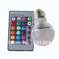 10sets/lot RGB LED Bulb 3w E27/E26 RGB LED 16Colors 85-265v +24 key remote controller