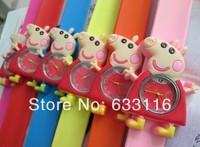 10pcs/lot wholesale new hot sales fashion cute Pepe pink pig cartoon silicone children gifts boys girls kids sports wrist watch