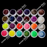 Amazed 24 PCS Glitter Mix Color UV Builder Gel Acrylic Set for Nail Art Tips # Glitter24