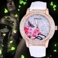 New SANEESI brand watch fashion top grade diamante Lady Watch butterfly peach blossom style 15.8