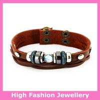 E4001 newly design fashion real leather charm bracelets,2014 new arrival handamde jewelry bangles