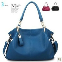 Promotional new lady leather handbag shoulder bag Korean fashion black handbags wholesale, free shipping