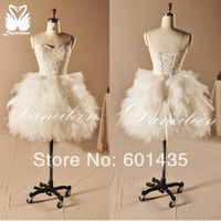 Daneileen Freeshipping! WR8988 Newest Beaded Sweetheart White Princess Ball Sexy Short Wedding Dress