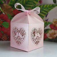 60pcs/lots Laser Cut Birdcage Wedding Favor Box(Pink pearlescent Paper)pink love birds wedding box, party shower favor candy box