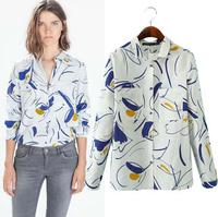 Blusas Femininas Fashion Women Zara2014 Long Sleeve Turn-Down Collar Blouse Casual Pockets Print Shirts Brand Design Tops S M L