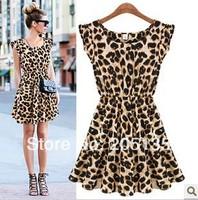 2014Fashion women round neck sleeveless leopard dress female European style summer sexy high waist one-piece dress free shipping
