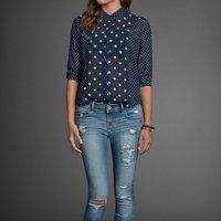 New 2014 spring and summer polka dot stitching lapel classic commuter chiffon shirts women blouses freeshipping YG112
