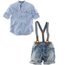 [E-Best] Retail one set 2014 summer children clothing sets boys shirt+denim overalls handsome 2pcs boy sets branded kids wears(China (Mainland))