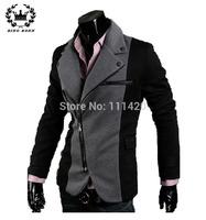 Patchwork Men Casual Blazer Irregular Zipper Design Men's Suit Ponte Jacket Black Dark Gray 2 Colors 11.11 On Sale