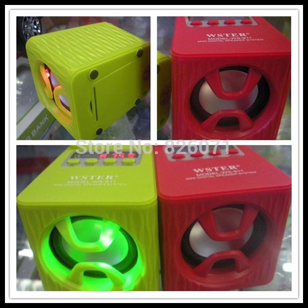 60pcs WS-911RL mini portable speaker WS-911 withU disk / FM ,stereo radio with display /flashlight / FM radio(China (Mainland))