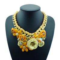 New Luxury Gold Chain Spray Paint Metal Flower Resin Beads Rhinestones Crystal Luxury Big Necklaces & Pendants Jewelry