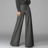 2014 casual fashion herringbone elasticated   high waisted  wide leg pants  women's thickening  plus size xxxl grey  trousers
