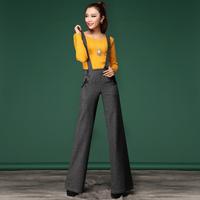 2014 woolen plus size jumpsuits  wide leg pants fashion  playsuit for women junior clothing with braces