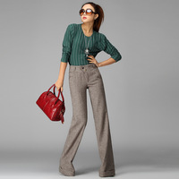 2014 Upscale latest fashion elegant wide leg pants   double breasted plus size XXL and XXXL office    trousers for women