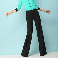 New In  2014 Spring And Summer Wide Leg Capris Pants Slim Woolen Straight  Casual Skinny  Black Female Top Grade Trousers