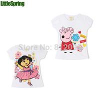 HOT Girls T-shirts! New 2014  Dora Peppa pig hello kitty children cotton t-shirt Casual cartoon little girl tops tees GLZ-S0272