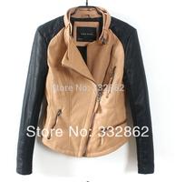 Free shipping 2014 new European and American fashion stitching Slim long-sleeved jacket diagonal zipper PU leather jacket