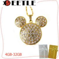 diamond jewelry usb flash mickey pen drive usb 4gb/8gb/16gb/32gb memory card u disk