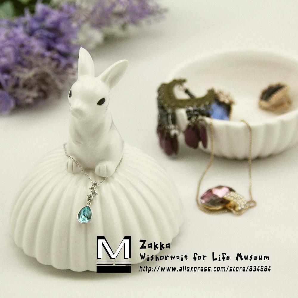 Free shipping New 2014 Zakka IKEA Cute Animal white pink ceramic jewelry box/sto