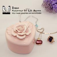 Freeshipping New 2014 Zakka IKEA Handmade heart-shaped pink flower ceramic jewelry box/storage box/Women gift/bedroom decoration