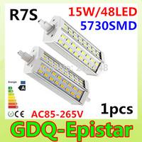 1pcs/lot R7S 48leds 15W SMD5730 118mm J118 Dimmable LED light bulb lamp AC85-265V replace halogen floodlight White/Warm White