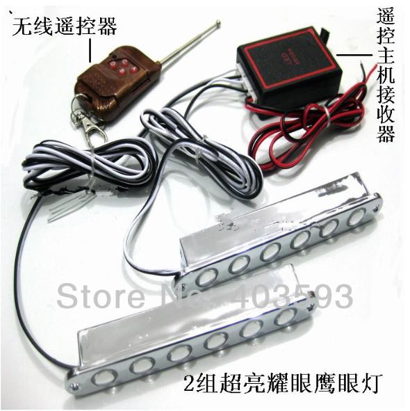 Wireless remote control flash strobe light 6LED*2 12led red blue white light(China (Mainland))