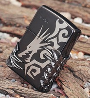 Wholesale 3 pcs/lot  copy Replica   High imitation Carving   Black Ice  tribal dragon lighter Alondra silver liner with boz